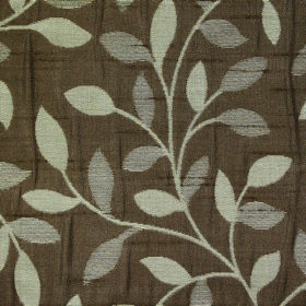 Ashleigh Small Leaf - Chocolate - Light putty and grey coloured leaves and curved vines on a mid-brown coloured 100% polyester fabric backgr