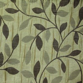 Ashleigh Small Leaf - Biscuit - Simple leaf and vine patterned 100% polyester fabric in light green, light grey and charcoal colours