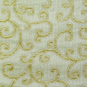 Bronte Charlotte - Cream - Polyester and acrylic blend fabric with a simple swirled design in light mint and olive shades of green