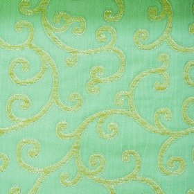 Bronte Charlotte - Duckegg - Light green coloured swirls as a simple pattern on a light teal coloured polyester and acrylic blended fabric b