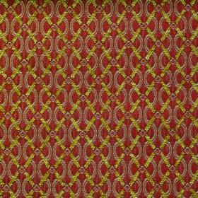 Bronte Anne - Terracotta - Terracotta coloured polyester and acrylic blend fabric patterned with a lime green diagonal grid and light brown wavy