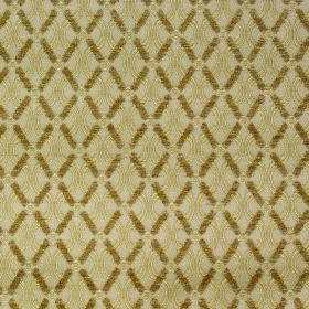 Bronte Anne - Antique - Golden brown diagonal grids over a golden cream coloured background with wavy lines made from polyester & acrylic fa
