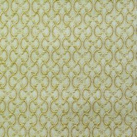 Bronte Anne - Cream - Polyester and acrylic blend fabric in light shades of green and grey covered with a pattern of wavy lines and a diagon