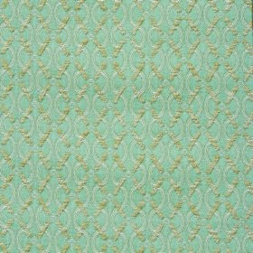 Bronte Anne - Duckegg - Duckegg blue coloured polyester-acrylic blend fabric with grey wavy lines and a pale green diagonal grid over the to