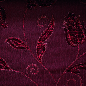 Bronte Emily - Burgundy - Luxurious, opulent polyester and acrylic blend fabric with an ornate floral design in several rich shades of burgu