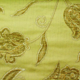 Bronte Emily - Gold - Golden yellow coloured polyester and acrylic blend fabric luxuriously patterned with embroidered ornate florals