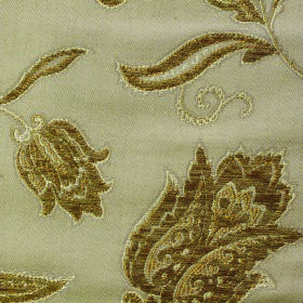 Bronte Emily - Antique - Fabric made from polyester and acrylic in light green, embroidered with an ornate floral design in olive green and