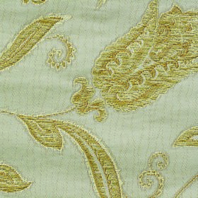 Bronte Emily - Cream - Lime green and pale mint green coloured polyester and cotton blend fabric with an ornate floral pattern embroidered o