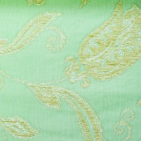 Bronte Emily - Duckegg - Floral patterned polyester and acrylic blend fabric with a luxurious ornate design inpale yellow, off-white & mint