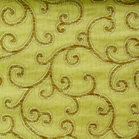 Bronte Charlotte - Gold - Golden brown and golden yellow coloured fabric made with a polyester-acrylic mix and a simple design of swirled vi