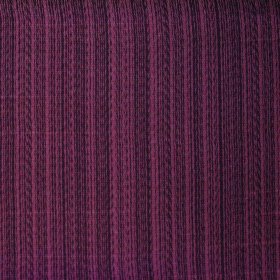 Cavendish - Wine - Chocolate and reddish brown coloured vertically striped fabric containing a polyester and cotton blend