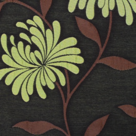Chrysanthemum - Bark - Floral patterned fabric made from polyester and cotton in charcoal, with lime green petals and brown stems and leaves