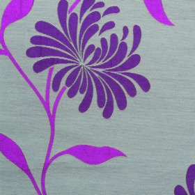 Chrysanthemum - Aubergine - Magenta stems and leaves with flowers with purple leaves on fabric made from polyester and cotton in silvery gre