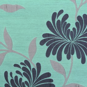 Chrysanthemum - Duckegg - Fabric made from sky blue coloured polyester and cotton with a simple floral design in battleship & steel shades o