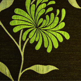Chrysanthemum - Lime - Flowers, leaves and stems in two shades of apple green on polyester and cotton blend fabric in very dark forest green