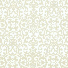 Concept Geo - Linen - Cream and white coloured fabric made from polyester and cotton, patterned with repeated swirling shapes