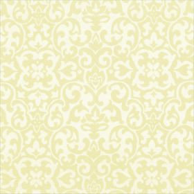 Concept Geo - Cream - Polyester and cotton blend fabric made in white and a light shade of butter yellow, with swirling shapes printed on to