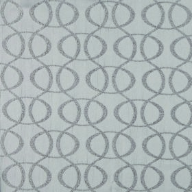 Concept Optica - Silver - A regular pattern of ovals and vertical wavy lines in grey on a 100% polyester fabric background in light grey