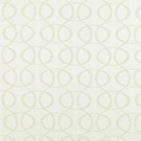 Concept Optica - Ivory - White 100% polyester fabric with a very subtle repeated pattern in pale grey featuring vertical wavy lines and oval