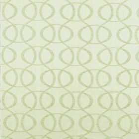 Concept Optica - Beige - Light cream wavy lines and ovals with a greenish tinge on a background of off-white coloured 100% polyester fabric