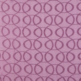 Concept Optica - Chalk Pink - Dusky pink and pink-purple coloured 100% polyester fabric with a repeated pattern of ovals and vertical wavy l