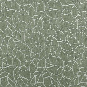 Concept Elements - Flint - Simple outlines of leaves in white, scattered over leaf green coloured fabric made from 100% poyester