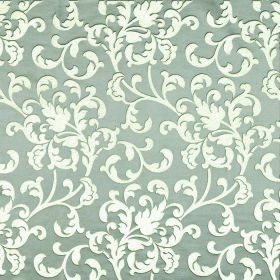 Concept Avante - Nickel - White leafy swirls printed as a pattern over light blue coloured fabric made with a combination of polyester and c