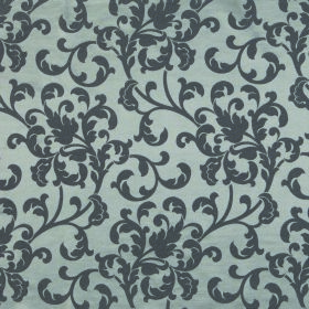 Concept Avante - Pewter - Blue-grey coloured polyester and cotton blend fabric with a pattern of leafy swirls in a much darker charcoal grey