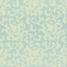 Concept Avante - Stone - Very pale shades of blue and cream-green making up a polyester and cotton blend fabric with a pattern of leafy swir