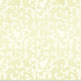 Concept Avante - Oatmeal - Fabric made from polyester and cotton in white and very light yellow, patterned with a leafyswirl design
