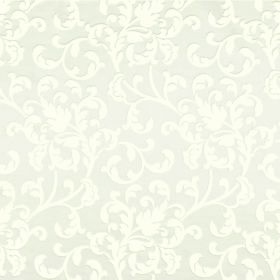 Concept Avante - Cotton - Subtly patterned polyester and cotton blend fabric with a leafy swirl design in white and pale grey
