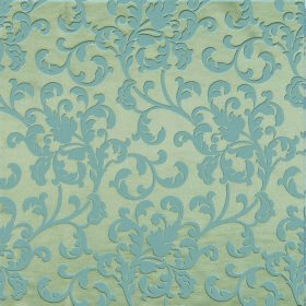 Concept Avante - Denim - Small leafy swirls covering fabric containing polyester and cotton in dusky blue and a light shade of green
