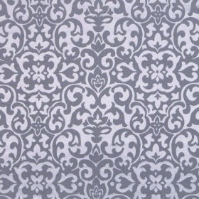 Concept Geo - Viola - Dark grey-purple shapes swirling over a background of fabric made from polyester and cotton in a much lighter shade