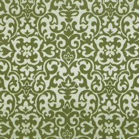 Concept Geo - Taupe - Off-white polyester and cotton blend fabric behind a busy, swirling pattern in leaf green
