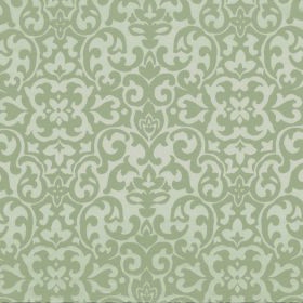 Concept Geo - Mushroom - Fabric containing polyester and cotton, patterned with repeated swirling shapes in off-white and light green-grey