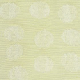 Darcey Pebble - Cream - White dots roughly printed on a background of very pale yellow coloured fabric combining cotton and polyester