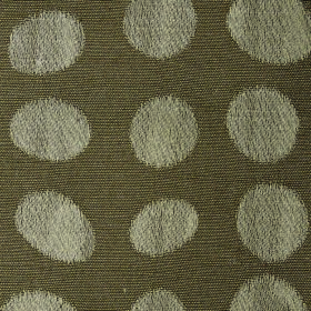 Darcey Pebble - Earth - Cotton and polyester blended into a grey-green fabric with a pattern of dots and egg shapes in a lighter shade of gr