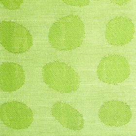 Darcey Pebble - Pear - Apple green dots in irregular shapes on a pale grey cotton and polyester blend fabric background