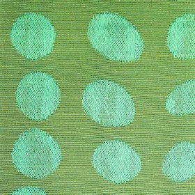 Darcey Pebble - Teal - Horizontally striped green and blue cotton and polyester blend fabric, covered with circles and ovals in light, icy b