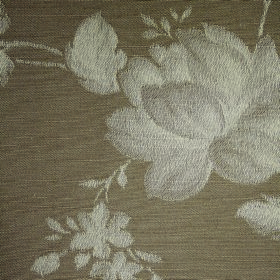 Darcey Leaf - Earth - Shaded light grey flowers against a grey-brown background made from cotton and polyester fabric