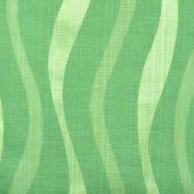 Honeysuckle Ribbon - Green - Cotton and polyester blend fabric with an uneven, undulating vertical wavy line design in three shades of green