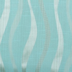 Honeysuckle Ribbon - Blue - Uneven wavy lines in two similar shades of silvery white vertically patterning light blue cotton-polyester blend