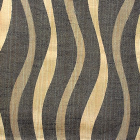 Honeysuckle Ribbon - Bark - Undulating, uneven wavy lines in dark grey, light brown and golden cream patterning fabric with a cotton-polyest