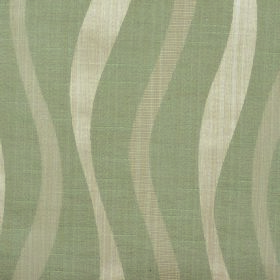 Honeysuckle Ribbon - Latte - Dusky green, cream and beige coloured cotton and polyester blend fabric with a pattern of vertical uneven wavy