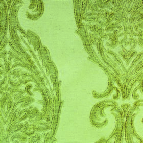 Intermezzo Opus - Verde - Polyester-viscose blend fabric featuring a large, intricate, repeated pattern in apple green on a pale green backg
