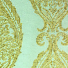 Intermezzo Opus - Aqua - Golden green intricate designs repeatedly patterning a light blue coloured polyester and viscose blend fabric backg