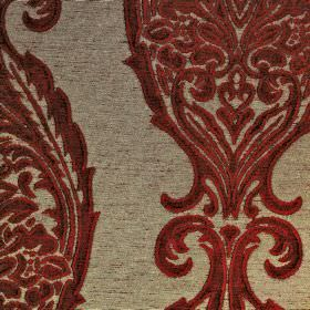 Intermezzo Opus - Rossa - Dark red and light grey coloured polyester and viscose blend fabric featuring a large, intricate, repeated design