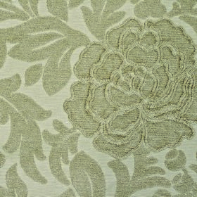 Intermezzo Allegro - Latte - Light grey leaves and flowers with textured edges on an off-white background of polyester and viscose blend fab
