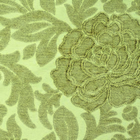 Intermezzo Allegro - Ora - Pale yellow and grey-green coloured polyester and viscose blend fabric with a floral and leaf design with some te