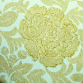 Intermezzo Allegro - Aqua - Flowers with textured edges and leaves, both inlight yellow, on white fabric containing a polyester and viscose